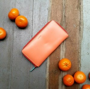 Lodis 'Ava' Tangerine Leather Checkbook Wallet